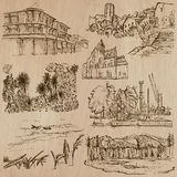 Famous places and architecture - hand drawn vector Stock Photography