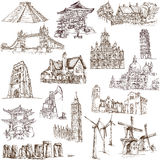 Famous places - 3. Famous places, buildings and architecture around the World (set no.3, white ) - Collection of an hand drawn illustrations. Description: Full Royalty Free Stock Photography