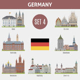 Famous Places cities in Germany. Bonn, Munster, Karlsruhe, Mannheim, Wiesbaden, Augsburg and Chemnitz. Set 4 Stock Photography