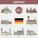 Famous Places cities in Germany. Wurzburg, Speyer, Aachen, Duisburg, Bochum, Wuppertal and  Bielefeld. Set 3 Royalty Free Stock Photos