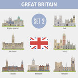 Famous Places cities in the UK. Kingston, Manchester, Leicester, Nottingham, Newcastle, York and Bristol. Set 2 Royalty Free Stock Photo