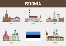 Famous Places of Estonian Cities Stock Image