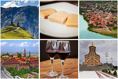 Famous places in Georgia. Collage of six images. Stock Images