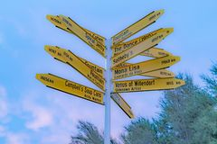 Famous places pointed by sign in Christchurch. New Zealand royalty free stock image
