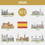 Famous Places Spain cities. Set 2 Royalty Free Stock Photo