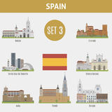 Famous Places Spain cities. Set 3 Stock Photography