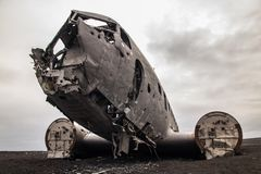 Famous plain wreck on Iceland stock images