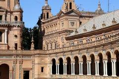 Famous Plaza de西班牙-西班牙正方形在塞维利亚,安大路西亚,西班牙 老地标 库存照片