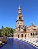 Famous Plaza de西班牙-西班牙正方形在塞维利亚,安大路西亚,西班牙 老地标 库存图片