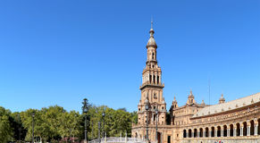 Famous Plaza de Espana-- Σεβίλη, Ανδαλουσία, Ισπανία ορόσημο παλαιό Στοκ εικόνα με δικαίωμα ελεύθερης χρήσης