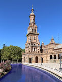 Famous Plaza de Espana - place espagnole en Séville, Andalousie, Espagne Vieille borne limite Images stock