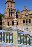 Famous Plaza de Espana - quadrato spagnolo in Siviglia, Andalusia, Spagna Vecchio limite Fotografie Stock