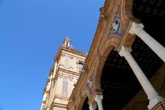 Famous Plaza de Espana - quadrato spagnolo in Siviglia, Andalusia, Spagna Vecchio limite Fotografia Stock Libera da Diritti