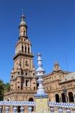 Famous Plaza de Espana - quadrato spagnolo in Siviglia, Andalusia, Spagna Vecchio limite Fotografia Stock