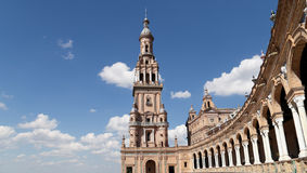 Famous Plaza DE Espana - Spaans Vierkant in Sevilla, Andalusia, Spanje Oud oriëntatiepunt Stock Afbeeldingen