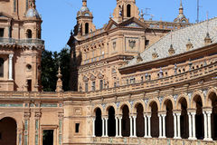 Famous Plaza de Espana - Spanish Square in Seville, Andalusia, Spain. Old landmark Stock Photos
