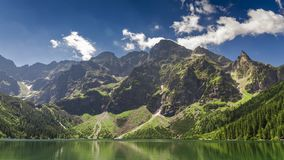 Famous Polish lake in the Tatras Mountains in summer, Poland stock video