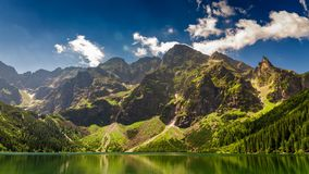 Famous Polish mountain lake in the Tatras stock video footage