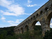 Romanian bridge in France at Le Pont du Gard stock photography