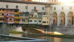 Famous Ponte Vecchio with river Arno. Florence Italy stock video