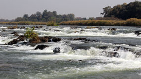Famous Popa falls in Caprivi, North Namibia Royalty Free Stock Photography