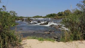 Famous Popa falls in Caprivi, North Namibia stock video footage