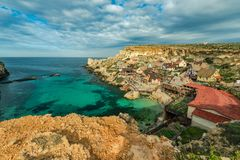 Famous Popeye Village in Anchor Bay, Malta.  Royalty Free Stock Images