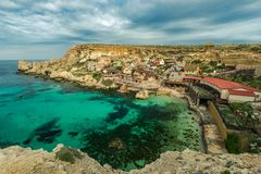 Famous Popeye Village in Anchor Bay, Malta.  Royalty Free Stock Image