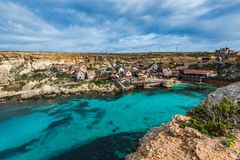 Famous Popeye Village in Anchor Bay, Malta.  Royalty Free Stock Photos