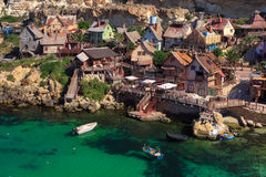Famous Popeye Village at Anchor Bay, Malta. Traditional colorful houses in the famous Popeye Village at Anchor Bay, Il-Mellieha, Malta Royalty Free Stock Photo
