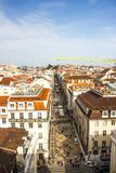 The famous and popular Rua street Augusta, downtown Lisboa, Portugal. View of the famous, popular and crowdy Rua street Augusta, downtown Lisboa, Portugal. It Stock Photos