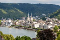 Famous popular Wine Village of Boppard at Rhine River,middle Rhine Valley,Germany royalty free stock photography