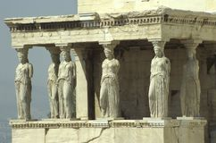 The Erechtheion on the Acropolis with the porch of the Caryatids. The famous porch of the Caryatids, in the southern part of the Erechtheion, built in ca. 420 B stock photography