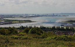 The famous port of Portsmouth on the South coast of England viewed fro the surrounding hills Royalty Free Stock Photography