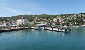 Famous Port of Prince Island Burgazada in the Marmara Sea, near Istanbul, Turkey stock images
