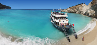 Beautiful Beach Cruise Lefkada Greece stock image