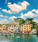 Famous Portofino village on Ligurian coast. Italy. beautiful landscape with blue sky Stock Images