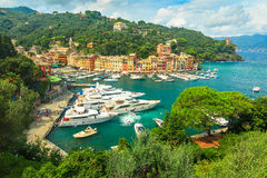 The famous Portofino village and luxury yachts,Liguria,Italy Stock Images