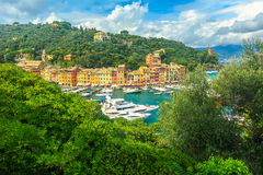 The famous Portofino village and luxury yachts,Liguria,Italy,Europe Stock Photos