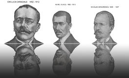 Famous portraits. Of Ion Luca Caragiale, Aurel Vlaicu and Nicolae Grigorescu, This famous artists are on romanian banknotes Stock Photos