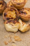 Famous Portuguese egg pastry tart. Called 'Pastel de Belem' on hessian fabric Stock Photography