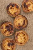 Famous Portuguese egg pastry tart. Called 'Pastel de Belem' on hessian fabric Royalty Free Stock Photo