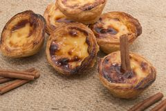 Famous Portuguese egg pastry tart. Called 'Pastel de Belem' on hessian fabric Stock Images