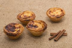 Famous Portuguese egg pastry tart. Called 'Pastel de Belem' on hessian fabric Royalty Free Stock Images
