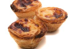 Famous Portuguese egg pastry tart. Called 'Pastel de Belem' isolated on white background Stock Photography