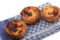 Famous Portuguese egg pastry tart. Called 'Pastel de Belem' isolated on white background Royalty Free Stock Images