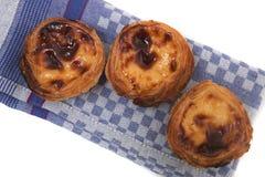 Famous Portuguese egg pastry tart. Called 'Pastel de Belem' isolated on white background Stock Image