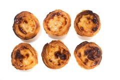 Famous Portuguese egg pastry tart. Called 'Pastel de Belem' isolated on white background Royalty Free Stock Image
