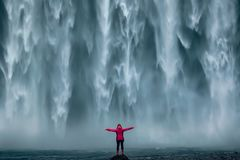 Free Famous Powerful Skogafoss Waterfall At South Iceland Stock Photos - 140877903