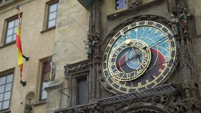 Famous Prague astronomical clock, the old Atomic clock in the Czech capital.  stock footage